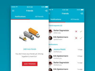 Trucking is more fun with friends (pt. 2) friends material design ios