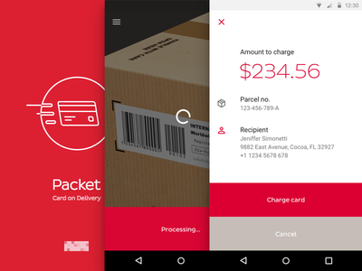 A packet is on it's way credit card charge scan material design app android
