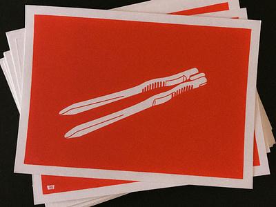 zatzat•objects illustration screen print postcard
