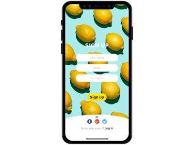 Daily UI 001 - Sign up dailyui design ux ui ios app lemon ui deisgn challange sign up dailyui 001 daily 100