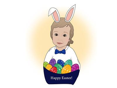 Happy Easter! computer graphics artwork art adobe illustrator vector eggs easter eggs rabbit kids portrait art happy easter illustration design portrait