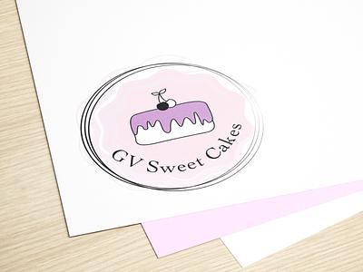 Logo for GV Sweet Cakes sweet cake logo logo design logotype logodesign branding graphic vector artwork art computer graphics adobe illustrator illustration design