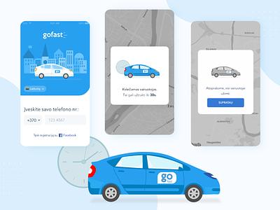 Illustrations for Go Fast taxi app taxi car car illustration application app computer branding graphic vector artwork art computer graphics adobe illustrator illustration design