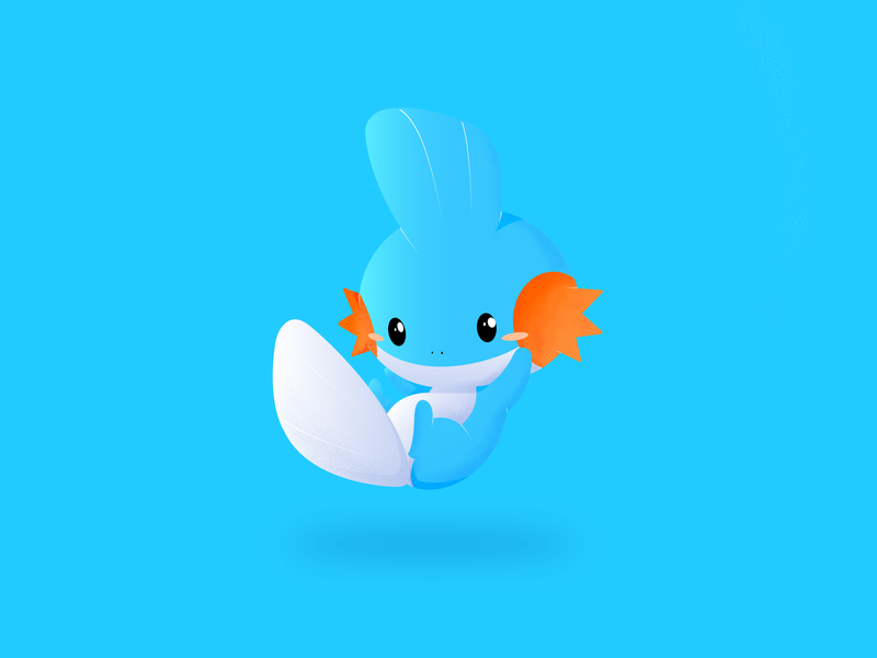Mudkip Dotted Blue mudkip pokemon gradients vector illustration colorful flat dribbble design colorswatch colors 2019