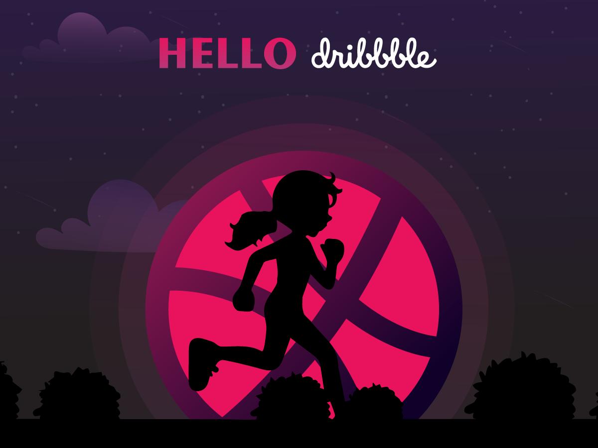 Hello Dribbles ui  ux design thanks invitation design illustration hello dribbble