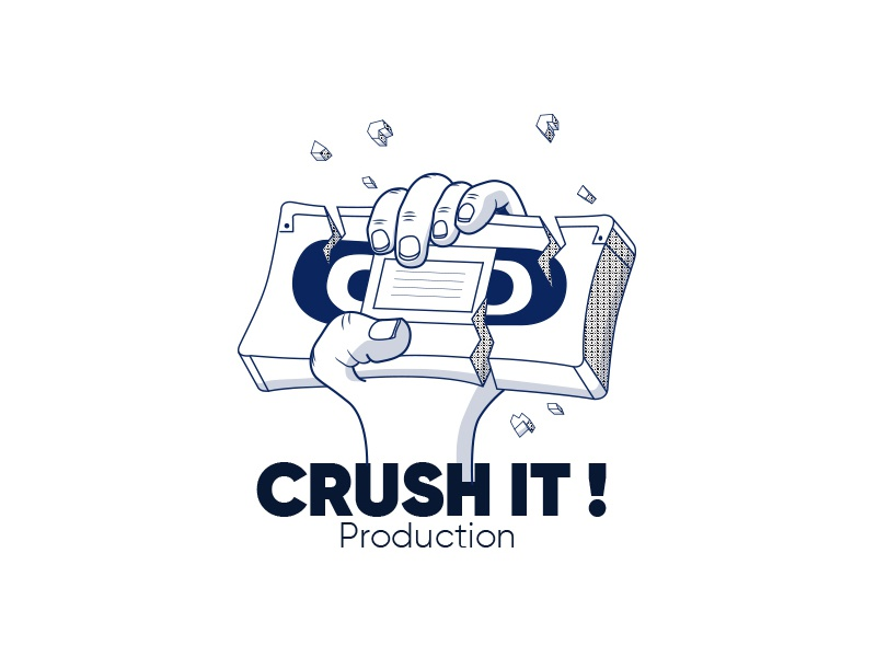 Crush It Prod 2 blue video fingers destroy crushed crush illustrated logo hand movies cinema production video tape logo