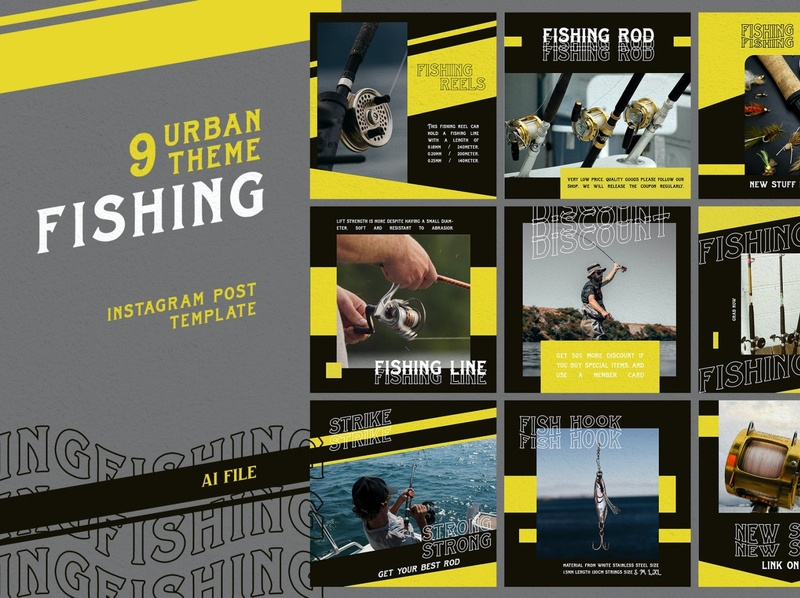 "Instaram Post Urban Theme ""FISHING"" social media design social media templates instagram template instagram post graphic  design layout"
