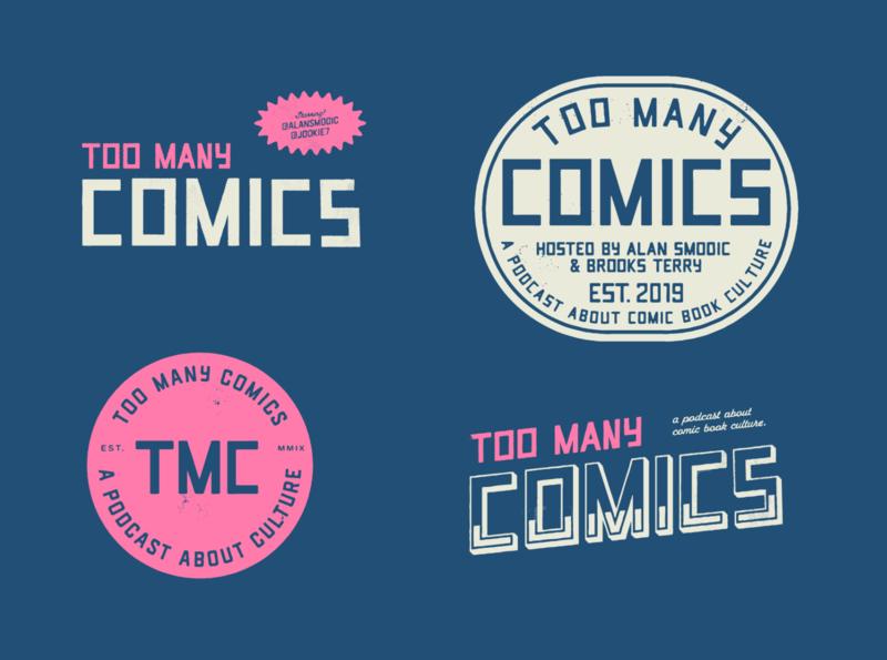 Too Many Comics - Logo Set retro logo vintage badge badge design badge logo logo set