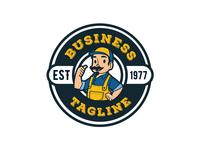 Mascot plumber logo for sale