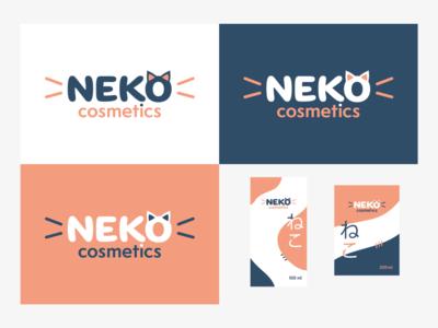 NEKO cosmetics logo and package design cute cat neko cosmetic logo cosmetics logo branding typography vector design