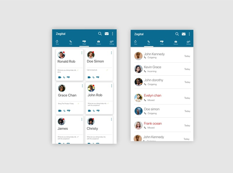 Zegichat ux ui chat message app design whatsapp