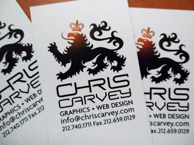 Chris Carvey Business Cards custom logotype heraldry lion business card icon animal agenda typeface