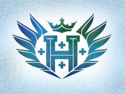 Hustle Points Icon V2 h hustle wings cross crown green blue