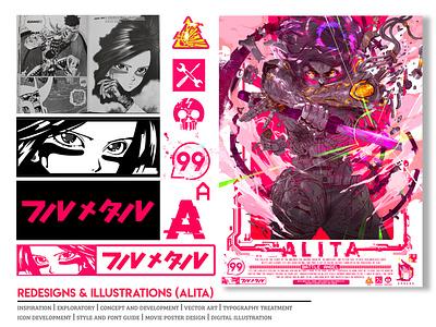 Alita Movie Poster v2020 cyberpunk vector art iconography illustration graphic art typography icon vector movie poster adaptation manga kanji design sheet anime
