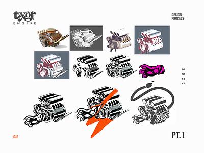 Tygr Design Process Part 1 development tiger paw engine asset branding vector photoshop idendity illustration exploratory design sketching evolution logo design process