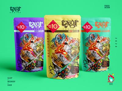 Tygr Engine Pouch Set icon design flavors variation artwork illustrator tiger bull set display los angeles cbd packaging design photoshop branding idendity illustration exploratory mockup cannabis design pouch design