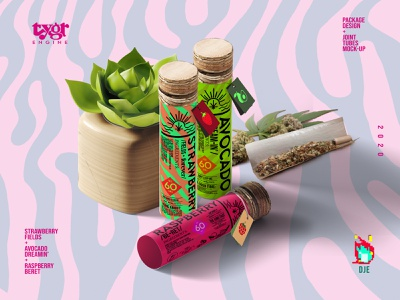 Tygr Joint Tubes package lyrics flavors vibrant weed los angeles label soft vile tube joints cannabis raspberry avocado strawberry stripes tiger exploratory design mock up