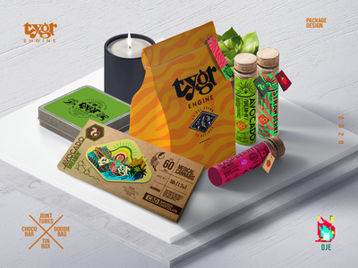 Tygr Products Scene idendity logo illustration exploratory health packaging colorful los angeles mockup pattern tin weed chocolate bar tag scene product design cannabis