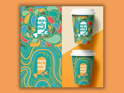 Remedy Owl Cup Patterns photoshop illustrator procreateapp filigree cup pattern pattern design mental health typography graphic art flat vector idendity logo exploratory branding design