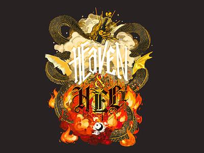 Heaven and Hell Stout Label beer label graphic art flames typography illustrative design illustration idendity exploratory design branding