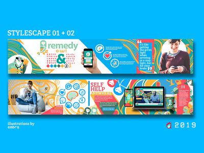 Remedy Owl Stylescape 01/02 stylescape app design photo retouching photo editing mentalhealth illustrator photoshop flat graphic art typography idendity logo illustration exploratory branding design