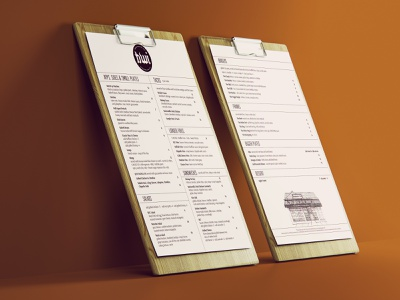 Menu Design for Brightwaters Inn branding print design menu design design