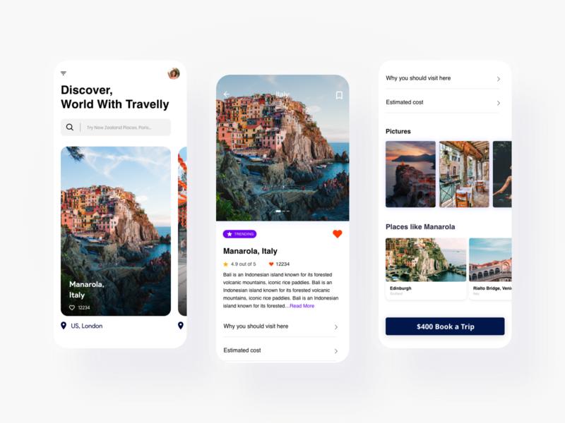Travel App Design 2 travel agency travel app mobile app design minimal adobe xd ux ui design travel