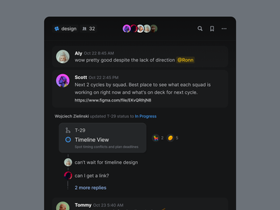 Chat channel reaction replies thread design system component chat