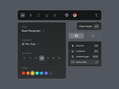 VSX - Text Editing product designer design system visual system font edit texture components