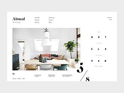 Aitneal interior portfolio minimal minimalistic white ecommerce clean flat webdesign ui
