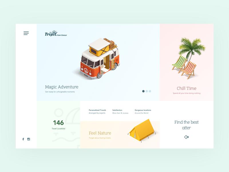 Tripit Summer LP travel summer ecommerce ux desktop flat clean webdesign ui