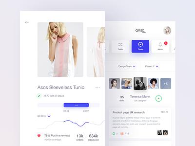 avsc. 4 ui shop profile mobile minimal task flat ecommerce dashboard crm