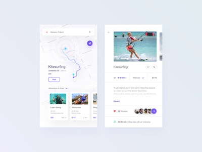 nearby attractions map travel ui shop mobile minimal flat ecommerce app