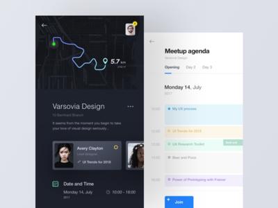 meeetup app agenda calendar dark map ux ui app meetup