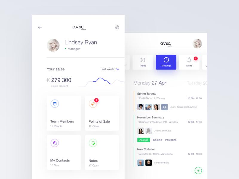 avsc. 5 ios flat mobile app minimal white ux ui