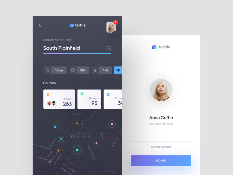 terhie - search and login white ux ui timelog flat dark cards map search