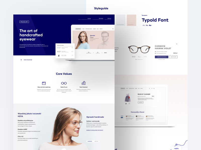 Muscat on Behance eyewear landing behance