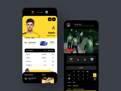 Overwatch League UI iphonex ios app ui concept blizzard overwatch league e-sport esport