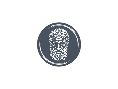Epic Beard illustration minimal emblem brand designer ancient greece clothing company masculine beards fashion logo designer logo design statue greek gods mythology greek male bearded man beard