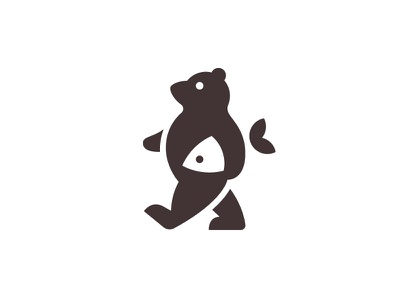 Bear and Fish food smart logo forest grizzly bear brand bear identity minimalist minimal negative space logo designer bears animal logo logo design willdness natural nature walk bear walk bear holding fish bear logo bear