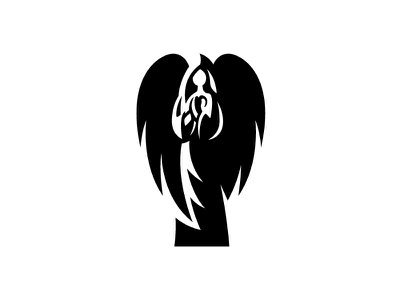 Angel vector angel being spiritual wings religion symbol negative space minimalist minimal logo design logo logo designer prayer peaceful illustration angel logo statue angel