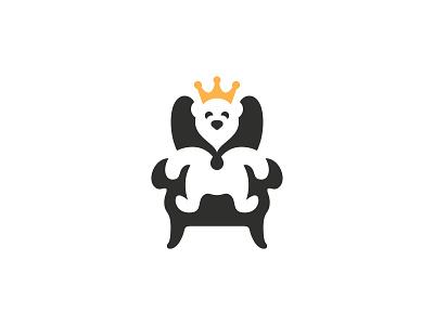 Bear King brand designer mascot bear design symbol flat bear mark branding logo design logo designer furniture store furniture chair minimal bear minimalist negative space cute bear animal bear king bear logo bear