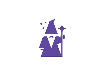 Wizard stars mustaches beard wizards clean logo flat  design negative space minimalist minimal logo logo design logo designer app logo mascot software fantasy magician magic wizard logo wizard