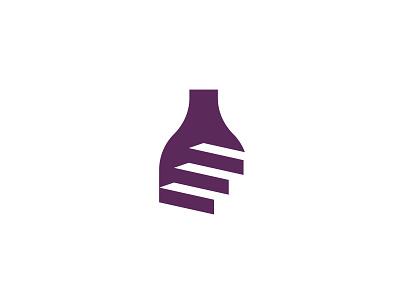Wine Cellar Logo negative space logo minimalist minimal logo logo design logo designer wine restaurant beverage double meaning negativespace vinery logo stairs wine logo wine bottle wine cellar