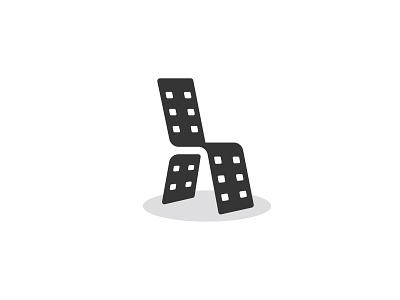 Movie Chair animation brand designer logo logo design logo designer negative space minimalist minimal photography cinema film strip video multimedia film tape furniture movie studio film chair movie chair