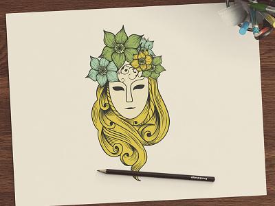 Beauty hand drawn cosmetics hair care skincare logo beauty