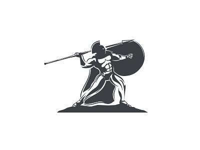 Spartan illustrative logo gladiator fight warrior spartan