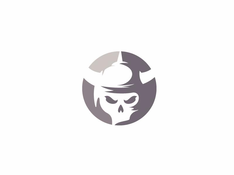 Viking Skull (unused concept) warrior minimalist simple logo shadow negative space logo skull viking