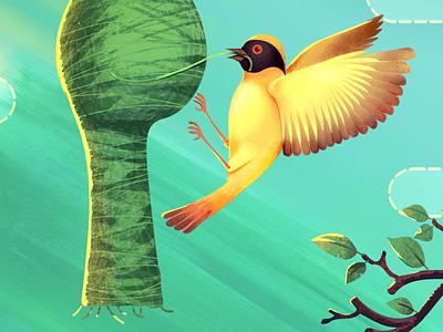 Nature's Weaver weaver birds design vector illustration bird