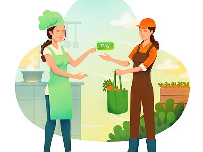 Fresh from farm to kitchen chef kitchen carrot illustration vector grocery app farmers market market farming farm